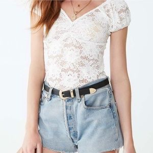 FOREVER 21 White V-Neck Lace Top
